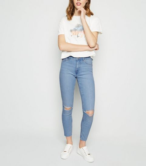 4b1067f78a7 ... Bright Blue Bleach Wash Ripped Jenna Jeans ...