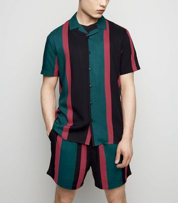 Teal Stripe Tie Waist Shorts