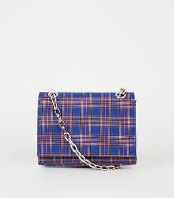 Blue Check Cross Body Bag