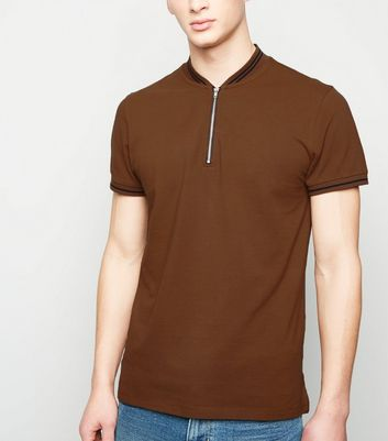 Mid Brown Tipped Zip Pique Polo