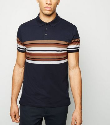 Navy and Rust striped Chest Polo Shirt