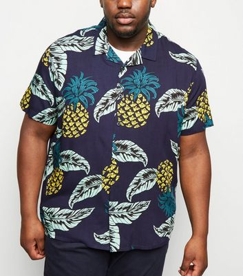 Plus Size Blue Pineapple Print Revere Collar Shirt
