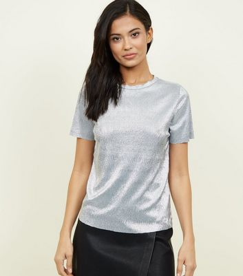 Silver Crinkle T-Shirt