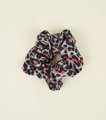 Grey and Neon Pink Leopard Print Scrunchie