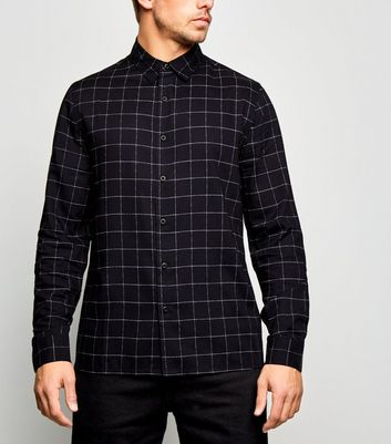 Navy Grid Check Long Sleeve Shirt