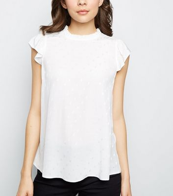 Off White Jacquard Spot Sleeveless Top