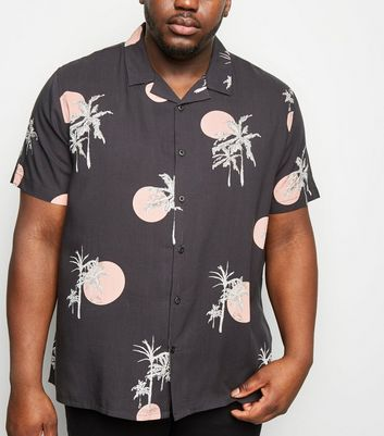 Plus Size Grey Sunset Print Short Sleeve Shirt