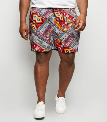 Plus Size Red Aztec Drawstring Waist Shorts