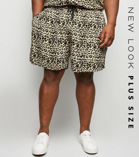 04d3326e37 ... Plus Size Off White Leopard Print Shorts ...