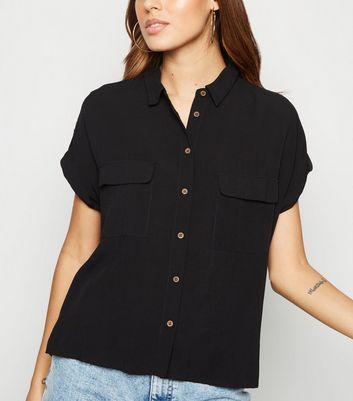 Black Pocket Front Short Sleeve Shirt