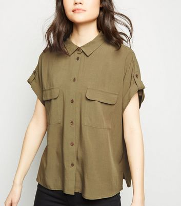 Khaki Pocket Front Short Sleeve Shirt