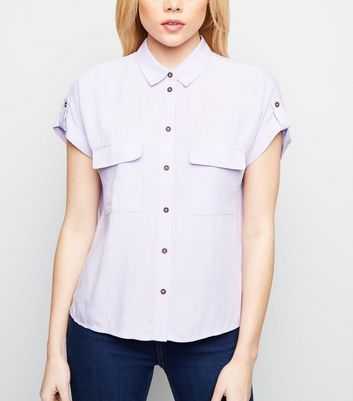Lilac Pocket Front Short Sleeve Shirt