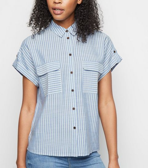 ae630357b ... Blue Stripe Pocket Front Shirt ...
