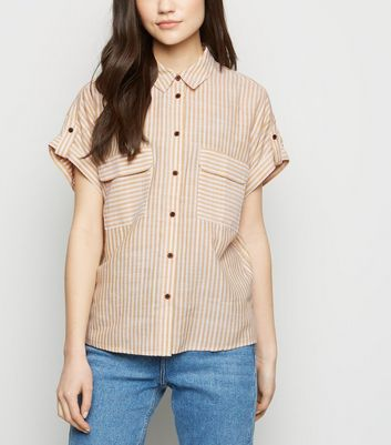Orange Stripe Pocket Front Shirt