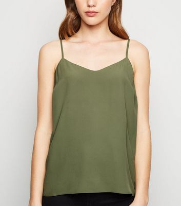 Olive Lattice Back Cami