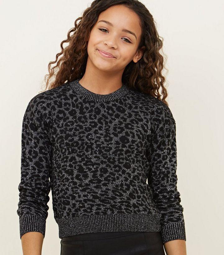 b81535d6 Girls Light Grey Glitter Leopard Print Jumper | New Look