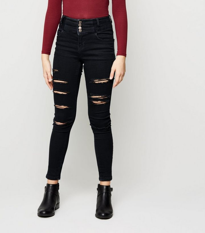 5cb6e9563e85 Black High Waisted Ripped Skinny Jeans - The Best Style Jeans