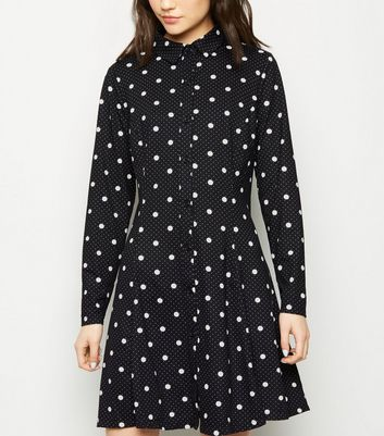 Black Spot Print Shirt Swing Dress