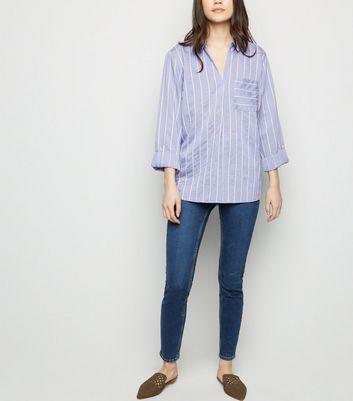 Blue Stripe Long Sleeve Overhead Shirt New Look