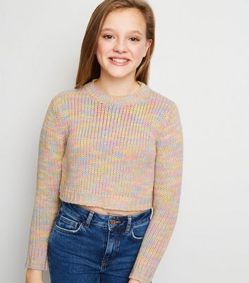 Girls Rainbow Pastel Twist Knit Jumper