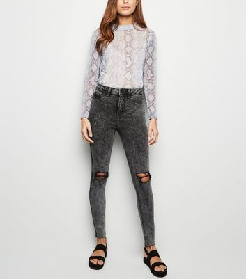 Black High Waist Super Skinny Ripped Halllie Jeans