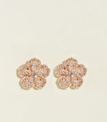 Rose Gold Cubic Zirconia Flower Stud Earrings