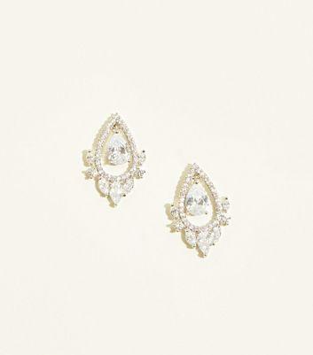 Silver Cubic Zirconia Floating Teardrop Stud Earrings by New Look