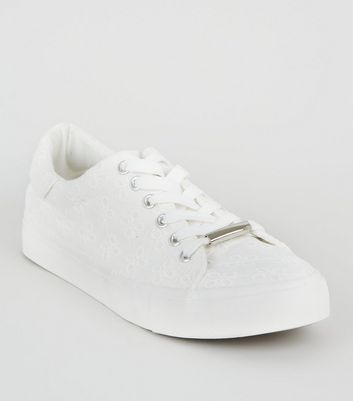 White Floral Embroidered Lace Up Trainers