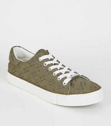 Khaki Floral Embroidered Lace Up Trainers