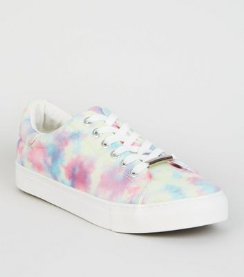 White Canvas Tie Dye Lace Up Trainers