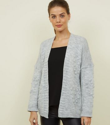 Cameo Rose Pale Grey Heart Bobble Cardigan