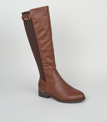 Wide Fit Tan Suedette D-Ring Knee High Boots