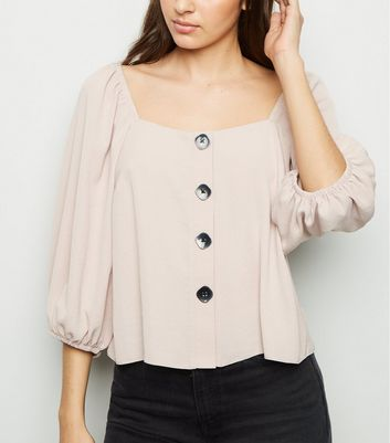 Pale Pink Square Neck Button Front Blouse