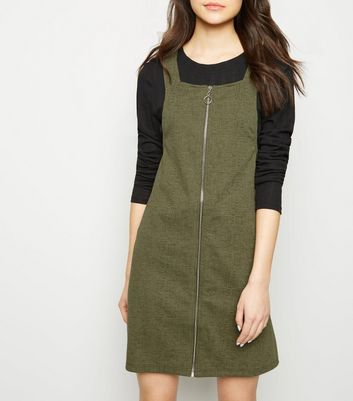 Khaki Ring Zip Cross Hatch Pinafore Dress