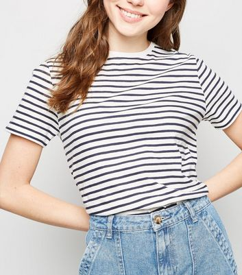 White Stripe Cotton T-Shirt