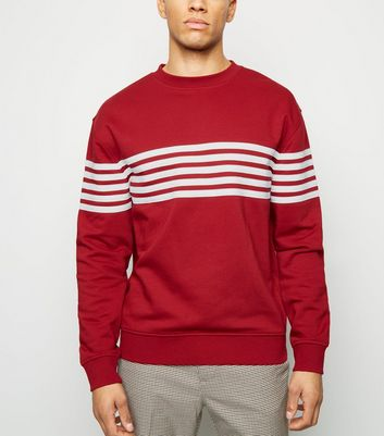 Dark Red 5 Stripe Crew Neck Sweatshirt