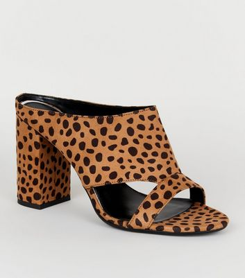 Wide Fit Brown Leopard Print Cut Out Mules