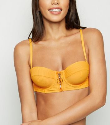 Yellow Ribbed Zip Front Underwired Bikini Top