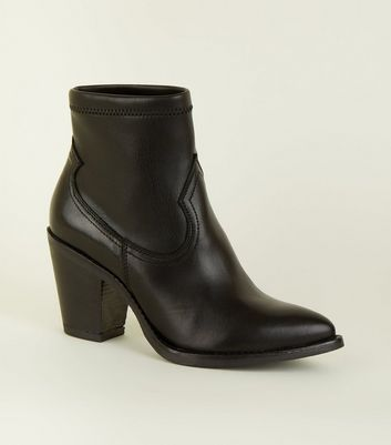 Black Leather Upper Western Ankle Boots