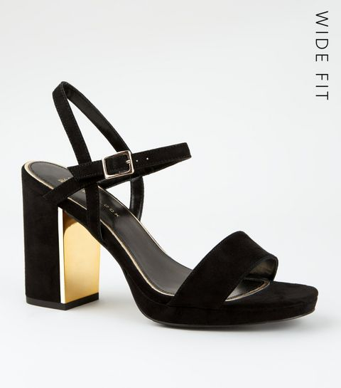 13ca7966dd3 ... Wide Fit Black Metal Heel Platform Sandals ...