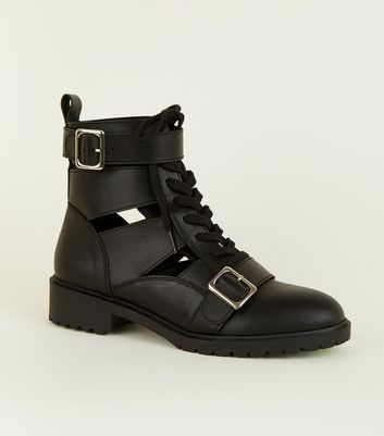 Black Cut Out Lace Up Biker Boots