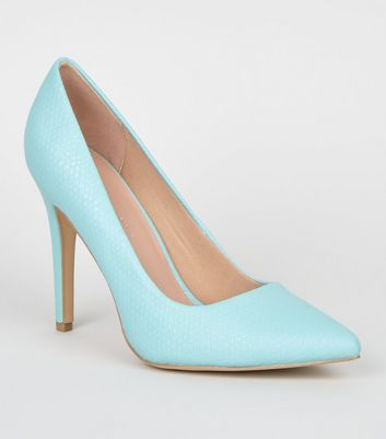Wide Fit Mint Green Faux Snake Stiletto Courts