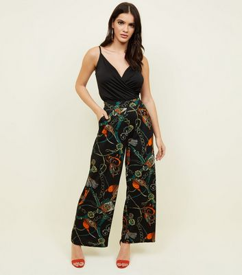 Cameo Rose Black Chain Print Trousers