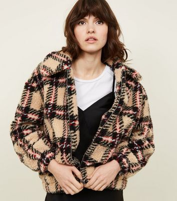 Camel Check Teddy Borg Bomber Jacket