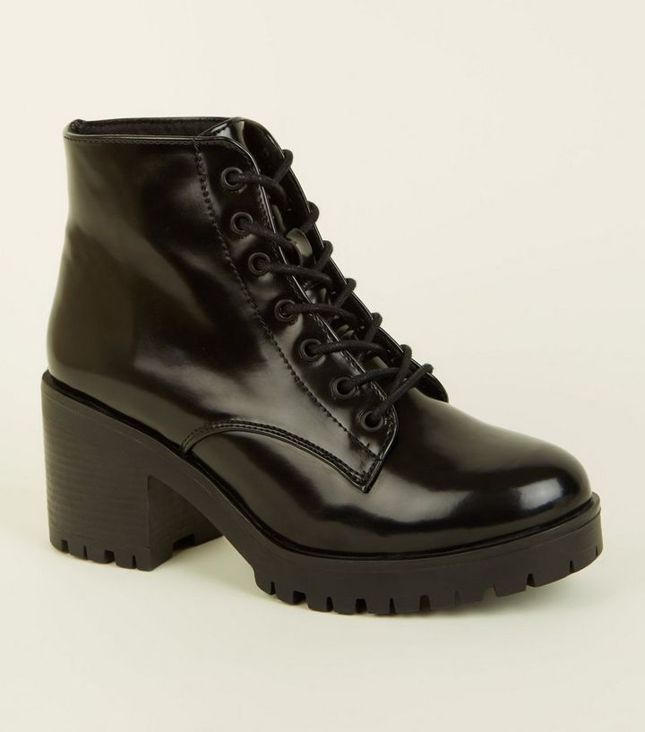 dc634897edd Black Patent Chunky Lace-Up Boots Add to Saved Items Remove from Saved Items