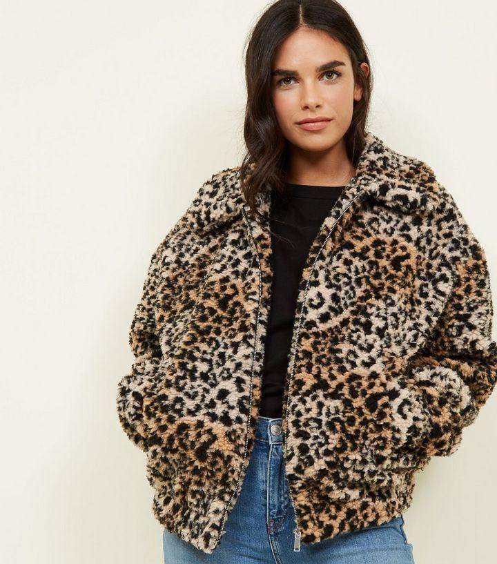 ecb4aa5e4270 Brown Leopard Print Teddy Bomber Jacket   New Look