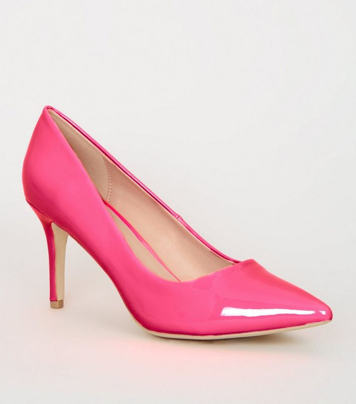887c2d18cbed Bright Pink Neon Pointed Court Shoes