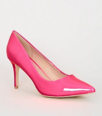 Bright Pink Neon Pointed Court Shoes