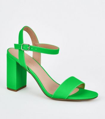 Green Neon Patent Two Part Block Heels