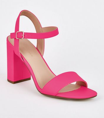 Pink Neon Patent Two Part Block Heels
